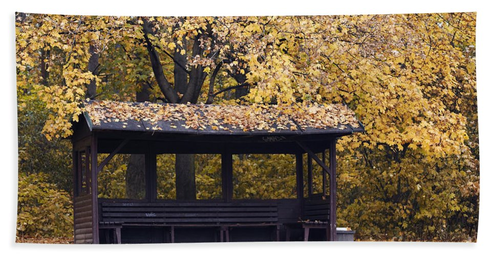 Autumn Hand Towel featuring the photograph Alcove In The Autumn Park by Michal Boubin