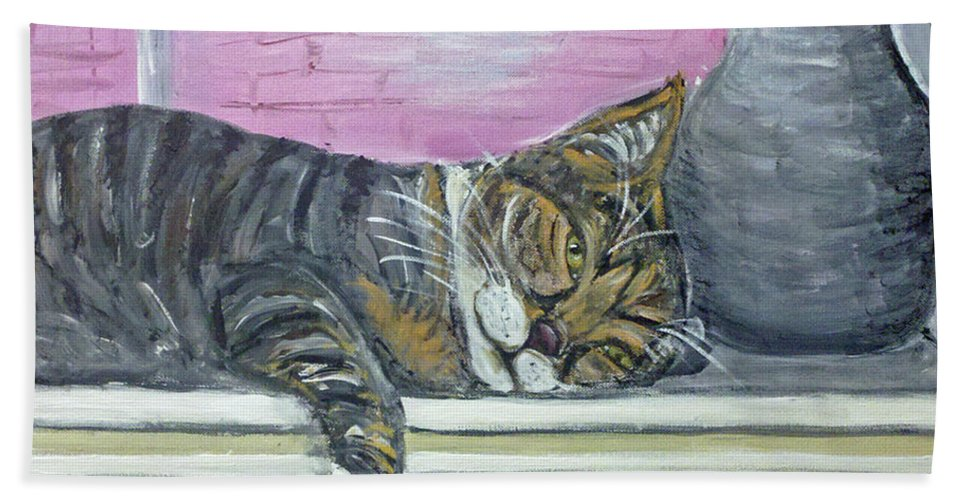 Cat Hand Towel featuring the painting Alex On Windowsill by Ania M Milo