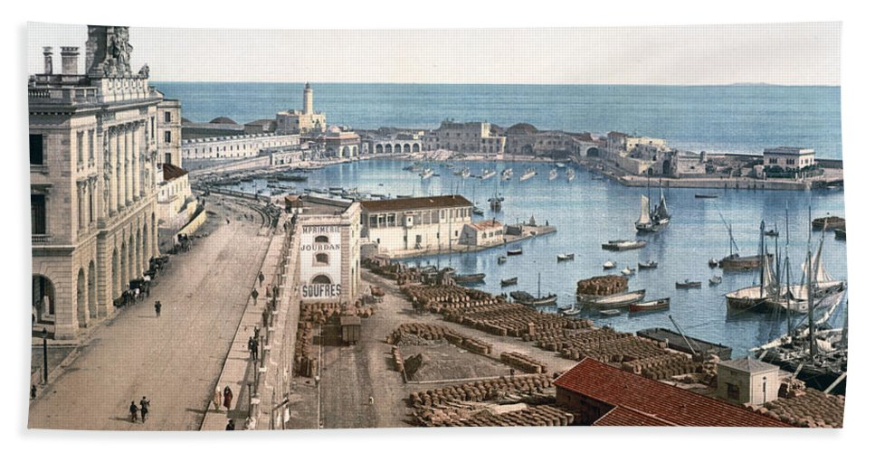 Algiers Hand Towel featuring the photograph Algiers - Algeria - Harbor And Admiralty by International Images