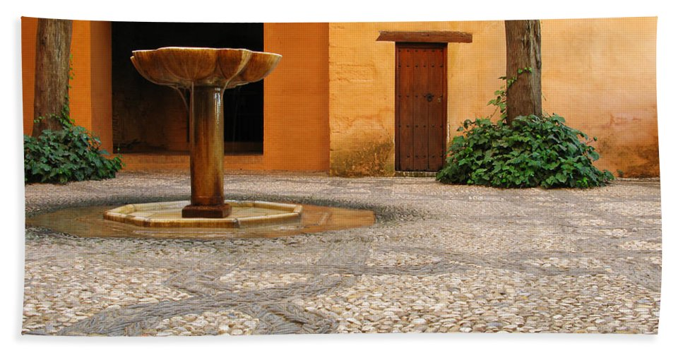 Courtyard Bath Sheet featuring the photograph Alhambra Courtyard And Fountain In Spain by Greg Matchick
