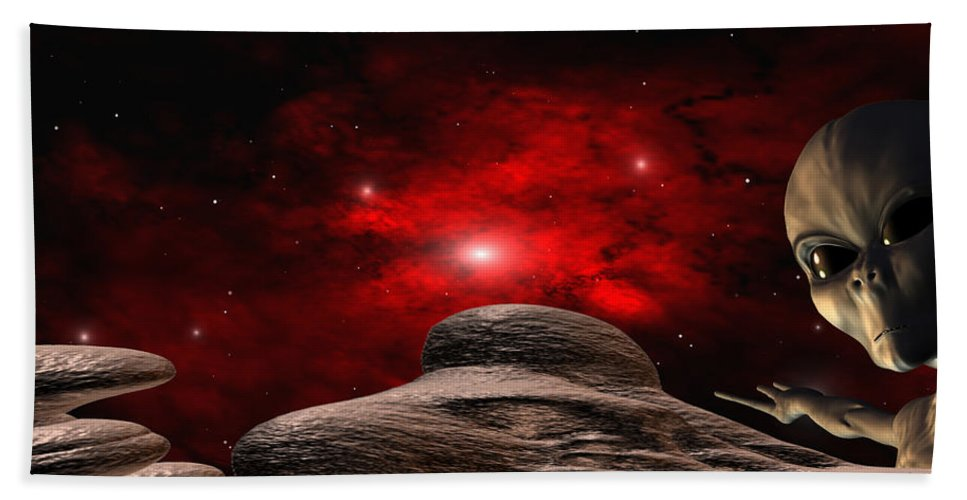 Space Bath Towel featuring the digital art Alien Planet by Robert aka Bobby Ray Howle
