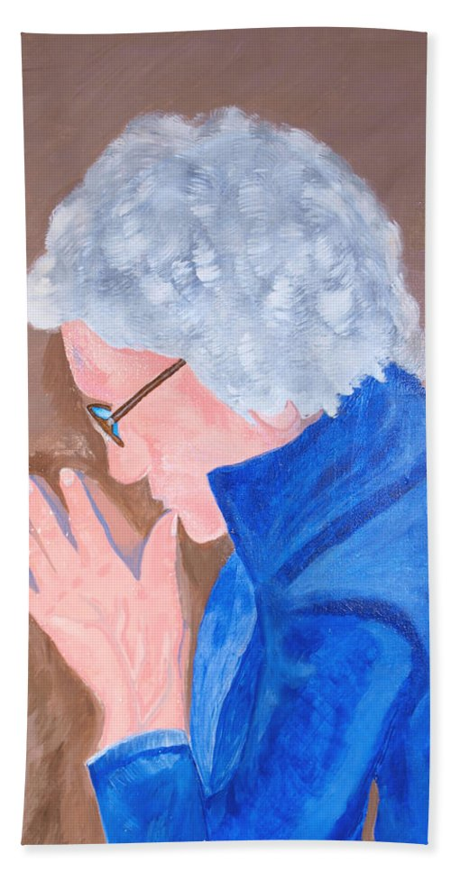 Elder Hand Towel featuring the painting All In The Mind by Lisa Brandel