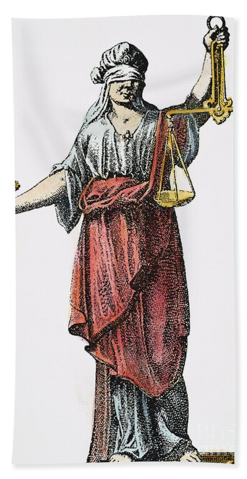 1726 Hand Towel featuring the photograph Allegory: Justice, 1726. Line Engraving (detail), German by Granger