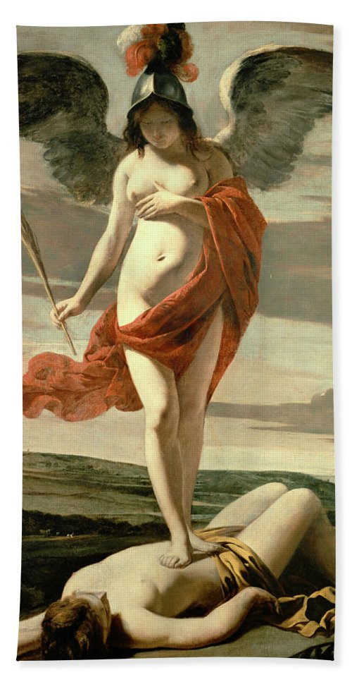 Female; Nude; Breast; Symbolic; Patriotic; Martyr's Palm; Helmet;winged; Landscape;triumph; Suppression; Allegorie De La Victoire Bath Sheet featuring the painting Allegory Of Victory by Louis Le Nain