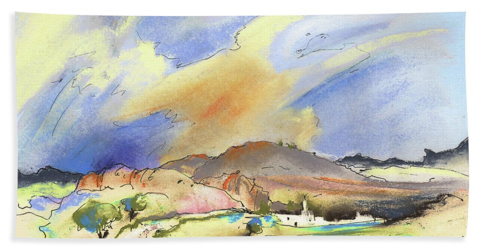 Landscapes Bath Sheet featuring the painting Almeria Region In Spain 01 by Miki De Goodaboom