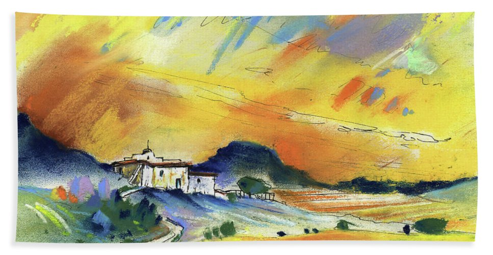 Spain Hand Towel featuring the painting Almeria Region In Spain 03 by Miki De Goodaboom
