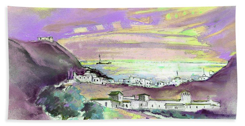 Spain Bath Sheet featuring the painting Almeria Region In Spain 04 by Miki De Goodaboom