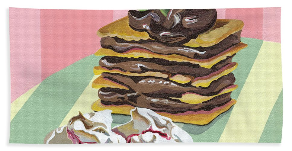 Almond Hand Towel featuring the painting Almond Cake by Shirley Radebach