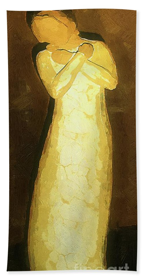 Figure Hand Towel featuring the painting Almost An Angel by RC DeWinter