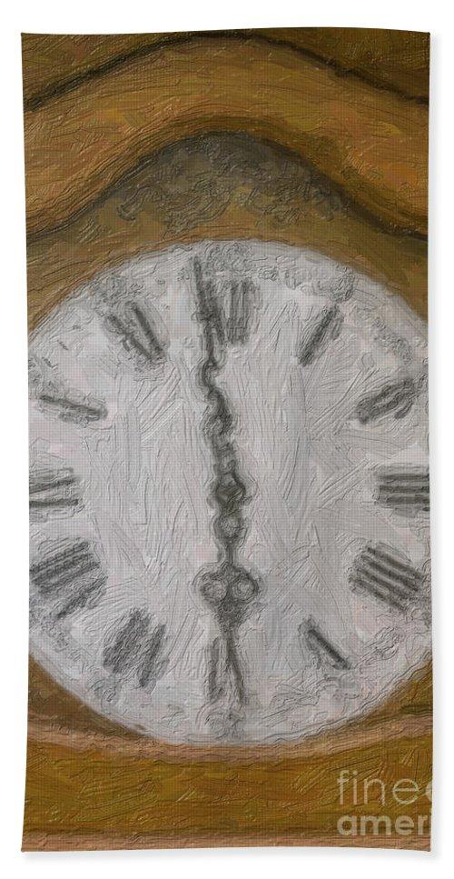 Clock Bath Sheet featuring the photograph Almost Six O'clock by Diane Macdonald