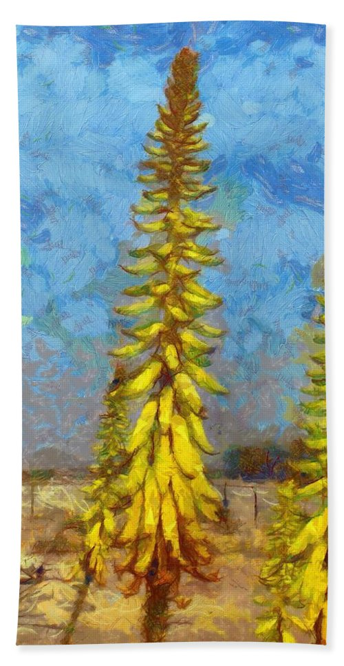 Aloe Vera Bath Sheet featuring the painting Aloe Vera Flowers by Balram Panikkaserry