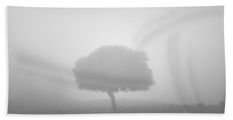 Black And White Hand Towel featuring the photograph Alone In The Fog by Guido Montanes Castillo