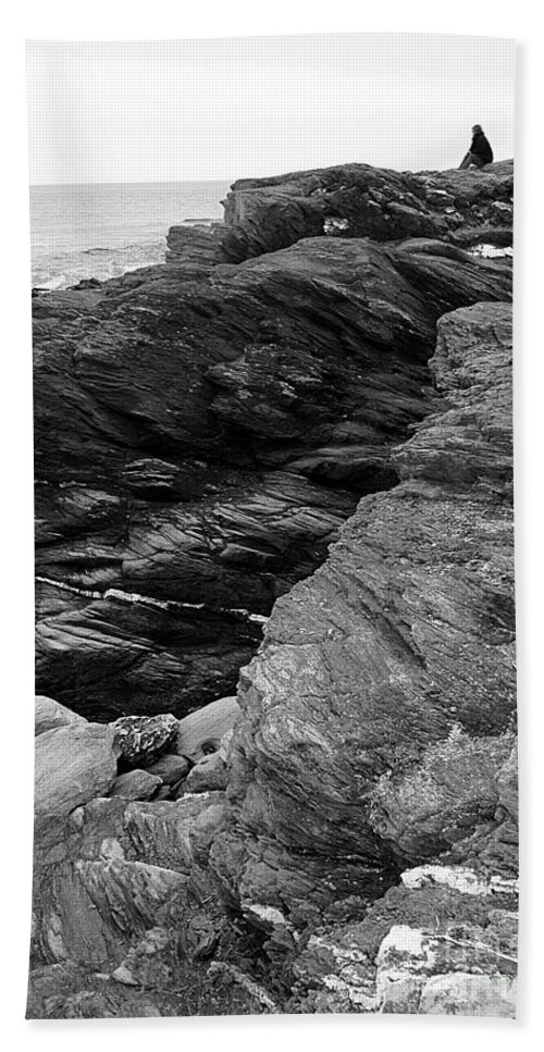 Alone Hand Towel featuring the photograph Alone Time Bw by Mike Nellums