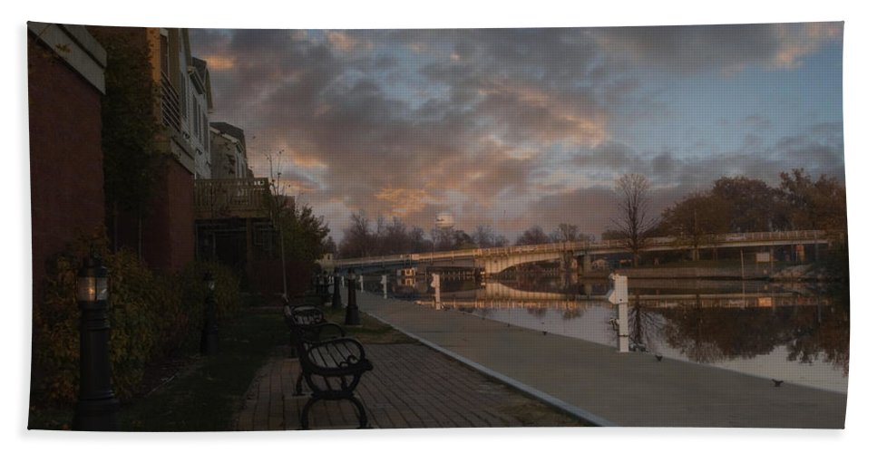 Menasha Bath Sheet featuring the photograph Along The Menasha Riverfront by Joel Witmeyer