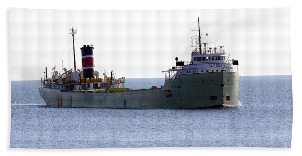 Ship Bath Towel featuring the photograph Alpena Ship by Lori Tordsen