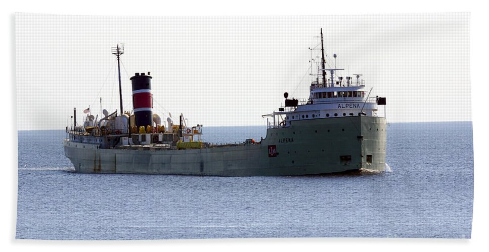 Ship Bath Sheet featuring the photograph Alpena Ship by Lori Tordsen