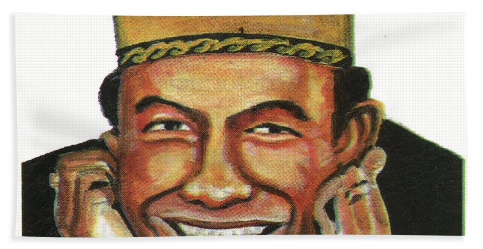 Portraits Bath Sheet featuring the painting Alphadi by Emmanuel Baliyanga