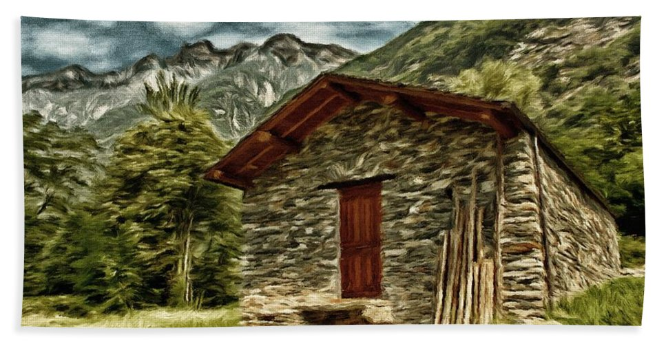 Italy Hand Towel featuring the painting Alpine Ruins by Jeffrey Kolker