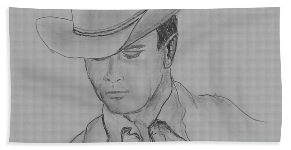 Cowboy Hand Towel featuring the drawing Always Cowboy by Kume Bryant