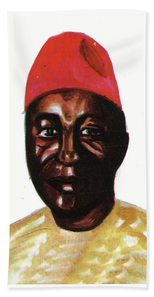 Portraits Bath Sheet featuring the painting Amadou Hampate Ba by Emmanuel Baliyanga