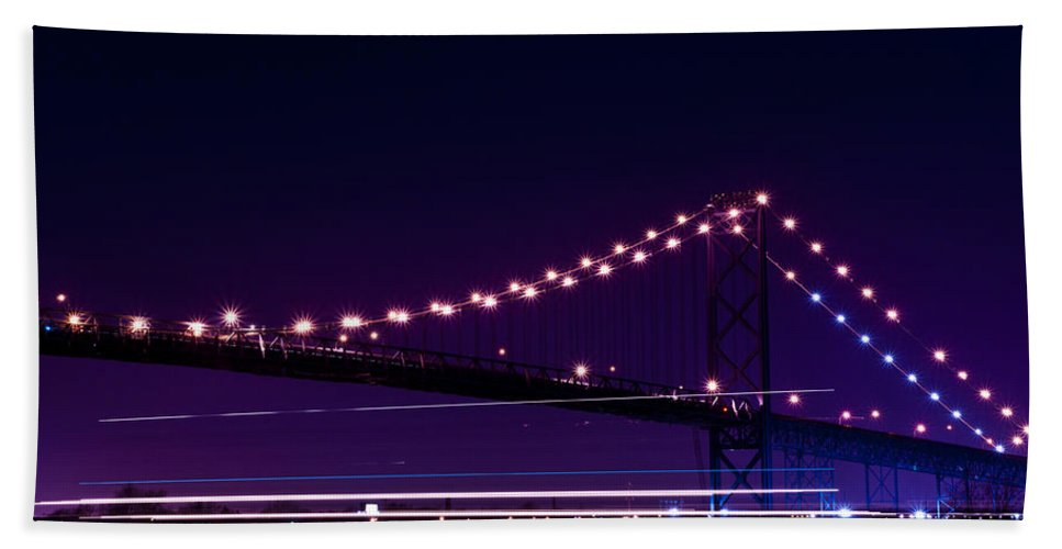 Ambassador Bridge Bath Sheet featuring the photograph Ambassador Bridge by Cale Best