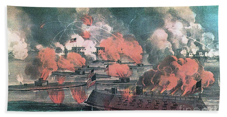 History Hand Towel featuring the photograph American Civil War, Great Fight by Photo Researchers