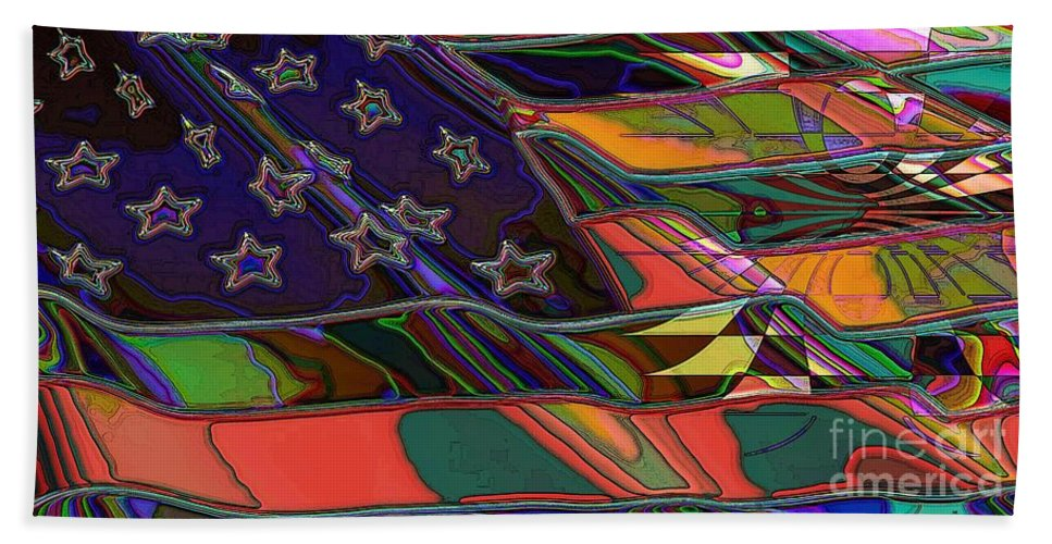Flag Hand Towel featuring the digital art American Flag 1 by Ron Bissett