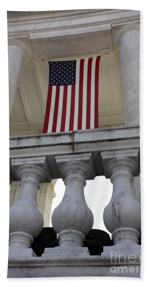 Amphitheater Bath Sheet featuring the photograph American Flags Hang In The Amphitheatre by Stocktrek Images