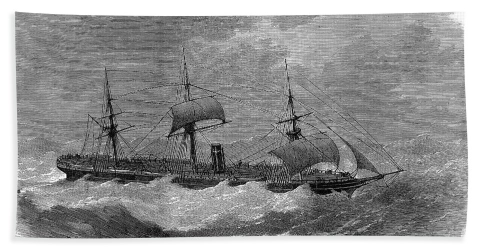 1870 Bath Sheet featuring the photograph American Steamship, 1870 by Granger