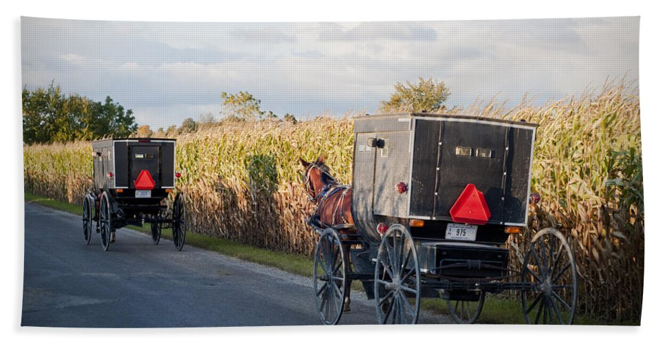 Amish Bath Sheet featuring the photograph Amish Buggies October Road by David Arment