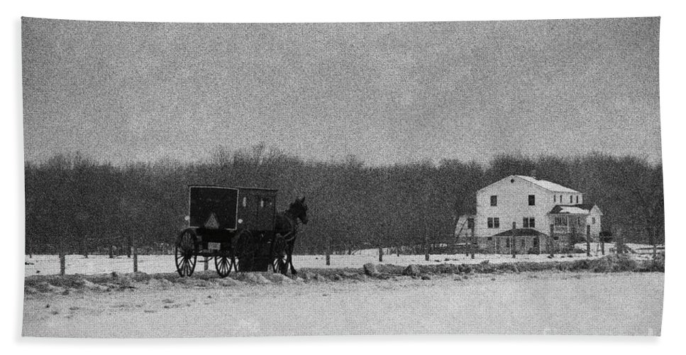 Amish Hand Towel featuring the photograph Amish Buggy Black And White by David Arment