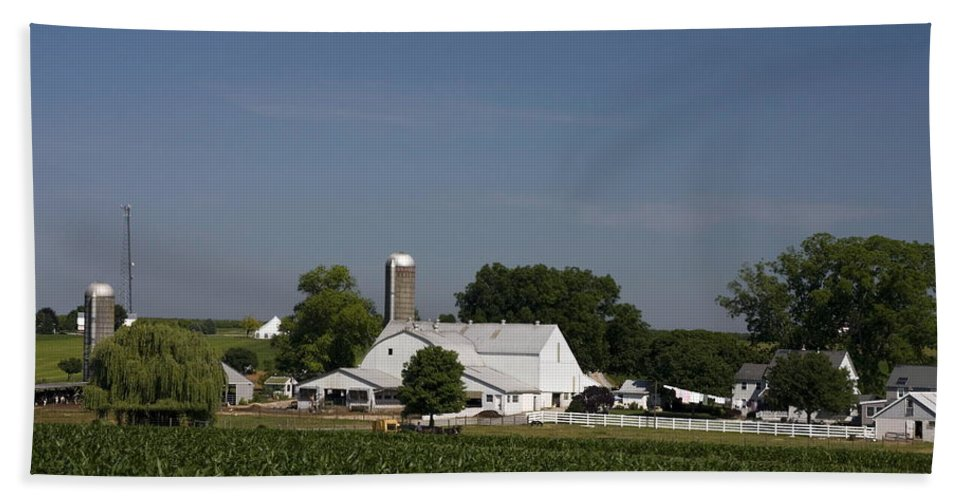 Amish Farm Hand Towel featuring the photograph Amish Farm by Sally Weigand