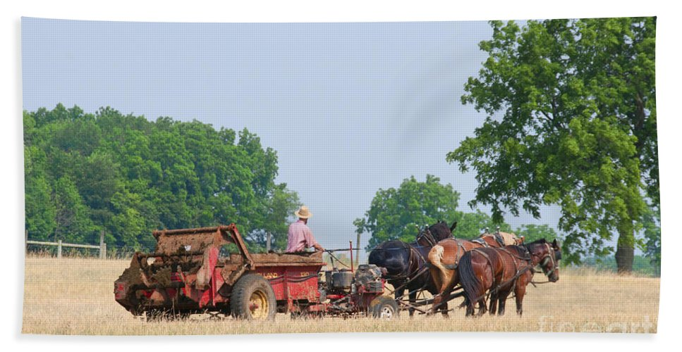 Amish Manure Spreader Hand Towel featuring the photograph Amish Manure Spreader by David Arment
