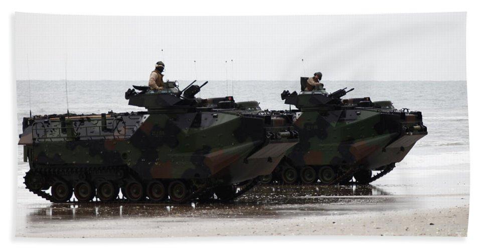 Men Hand Towel featuring the photograph Amphibious Assault Vehicles Land Ashore by Stocktrek Images