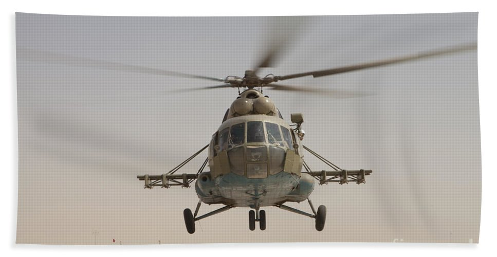 Mil Mi-17 Hand Towel featuring the photograph An Afghan Air Force Russian Mil Mi-17 by Stocktrek Images