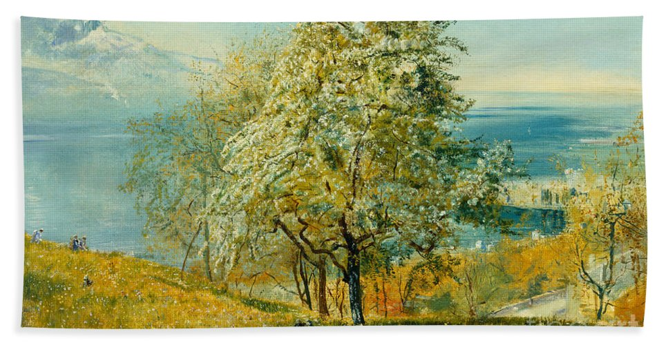 An Alpine Lake Hand Towel featuring the painting An Alpine Lake by John William Inchbold