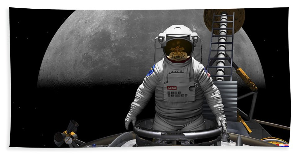 Space Exploration Bath Sheet featuring the digital art An Astronaut Takes A Last Look At Earth by Walter Myers
