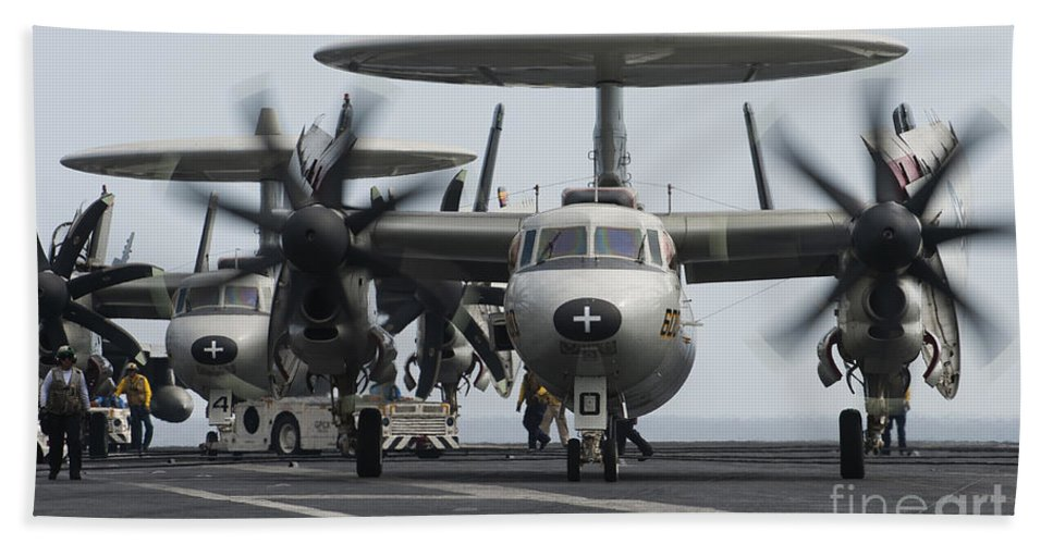 Taxiing Hand Towel featuring the photograph An E-2c Hawkeye Aircraft On The Flight by Stocktrek Images