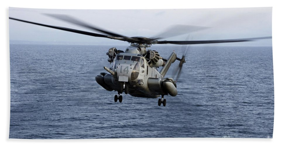 Transportation Hand Towel featuring the photograph An Mh-53e Sea Dragon In Flight by Stocktrek Images