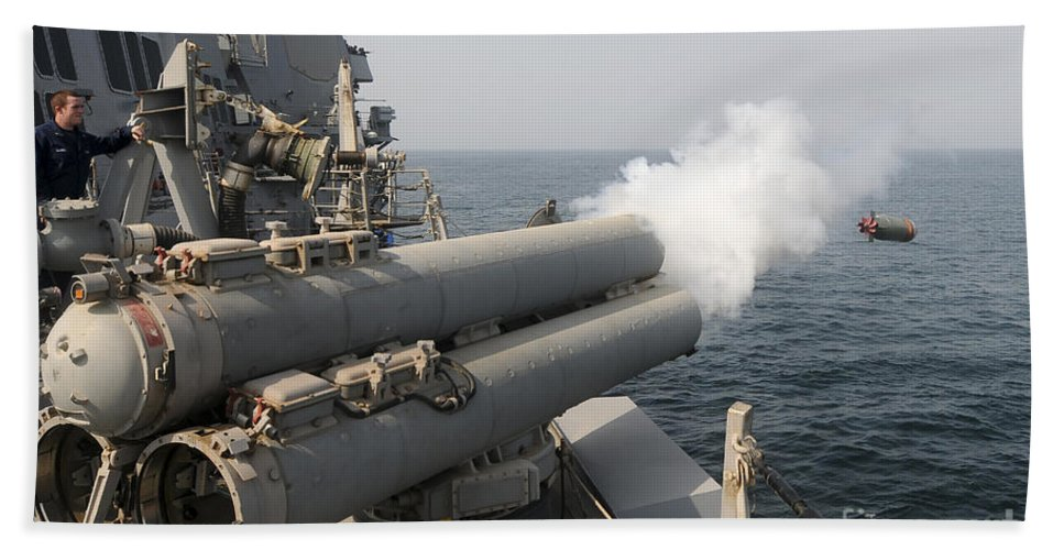 Ship Hand Towel featuring the photograph An Mk-46 Recoverable Exercise Torpedo by Stocktrek Images