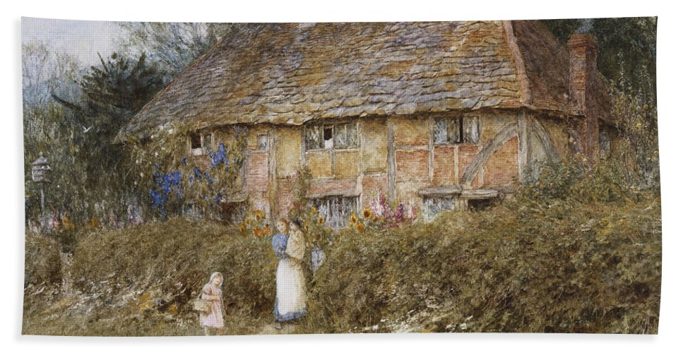 English; Landscape; C19th; C20th; Mother; Child; Children; Baby; Female; Half-timbered; Gate; Path; Victorian Bath Sheet featuring the painting An Old Surrey Cottage by Helen Allingham