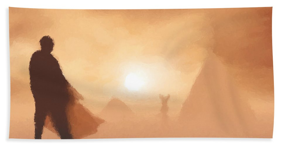 Fantasy Bath Sheet featuring the painting Ancient Desert by Pixel Chimp