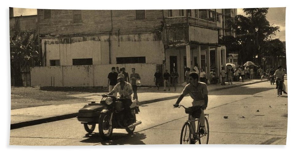 Old Town Hand Towel featuring the photograph And The Bicycle Wins by John Malone