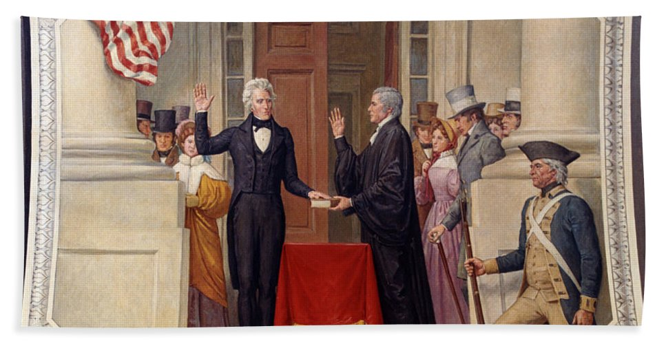 andrew Jackson Hand Towel featuring the photograph Andrew Jackson At The First Capitol Inauguration - C 1829 by International Images