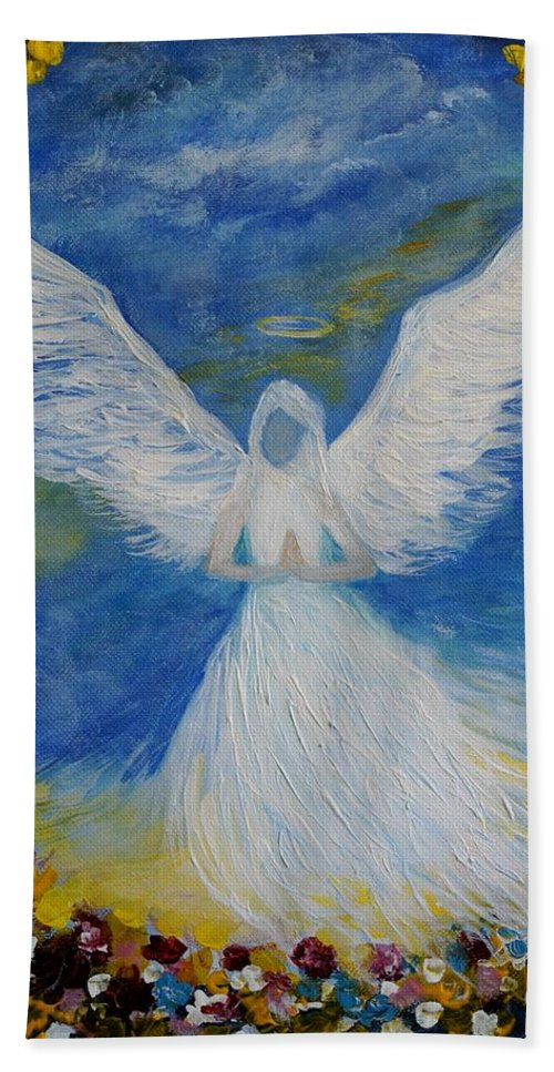 Angel Bath Sheet featuring the painting Angel Among Us by Leslie Allen
