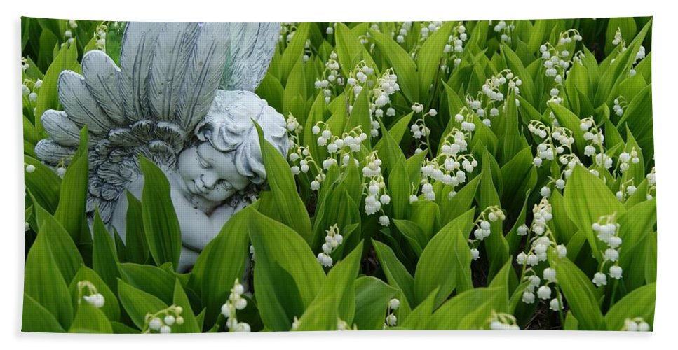 Angel Hand Towel featuring the photograph Angel In The Lilies by Steven Clipperton