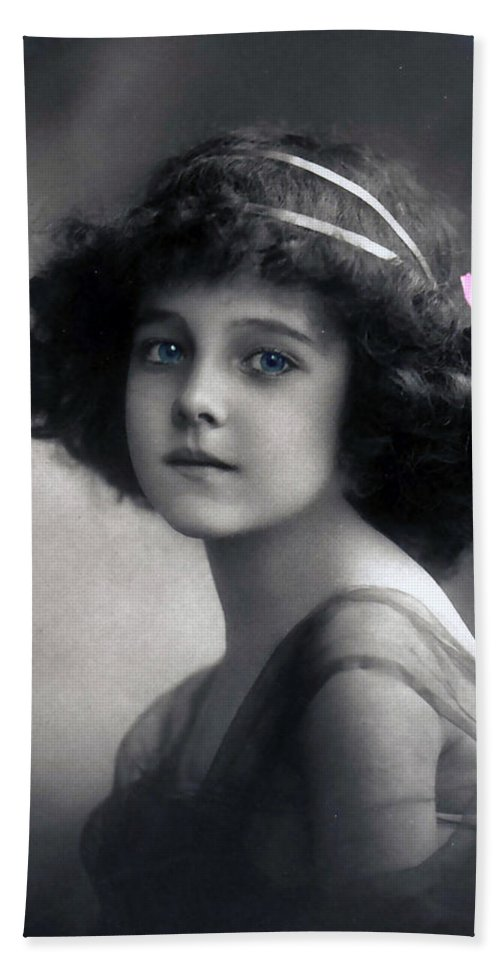 Photograph Vintage Girl Female Angel Beauty Little Child Nice Face Portrait Earth Black White Color Colored Blue Eyes Bath Sheet featuring the photograph Angel On Earth by Steve K
