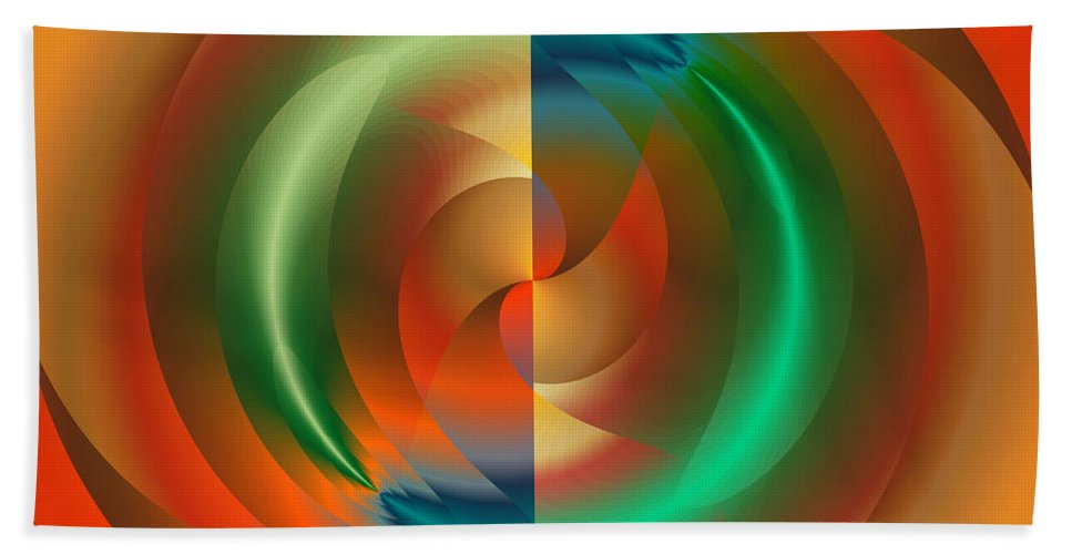 Abstract Hand Towel featuring the digital art Angular Momentum by Mark Greenberg
