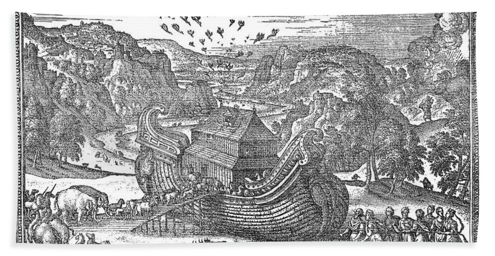 1581 Bath Sheet featuring the photograph Animals Entering The Ark by Granger