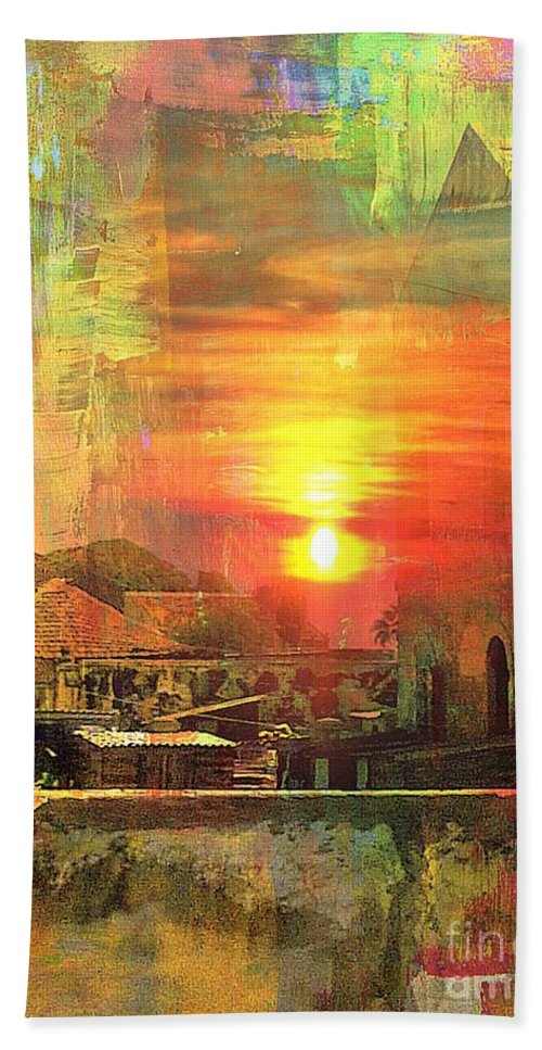 Fania Simon Hand Towel featuring the mixed media Another Day In Poverty by Fania Simon